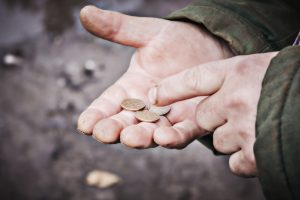 Hand,The,Old,Man,And,Pile,Coin,For,Saving.,Money